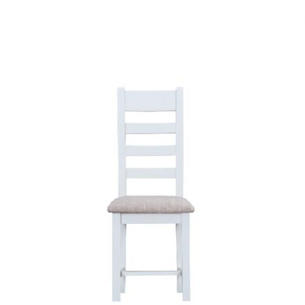 Toulouse White Ladder Back Fabric Seat Chair